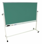 Double Sided 72''W Aluminum Frame Magnetic Mobile White Board and Chalkboard with Marker Tray [MB7240-FS-LUX]
