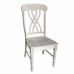 Solid Parawood Armless Lattice Back 39.5''H Side Dining Chair - Set of 2 - Unfinished [C-390P-FS-WHT]