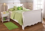 Lauren Traditional Wood Sleigh Bed Set with Rails - Full - White [1528BFSR-FS-HILL]