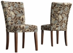 Leaf Design Fabric Dark Brown Dining Parson Chair-Set Of 2 [721F13S-2PC-FS-HOM]