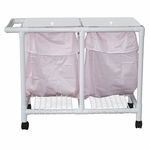 Leak-proof Double Bag Hamper with Mesh Bag and Casters - 22.5''W X 47''D X 38.5''H [218-D-LP-MJM]