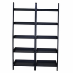 Solid Wood Lean To Shelf Unit With 5 Shelves - Set Of 2 - Black [K-SH67-2660-2-FS-WHT]