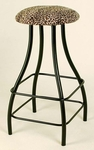 Backless 24''H Wrought Iron Swivel Barstool with Upholstered Seat and Contempo Base [GMC-SW224-FS-GCM]