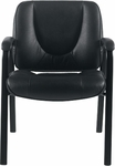 33.5''H Luxhide Leather Guest Chair - Black [OTG3915B-BL20-FS-GLO]