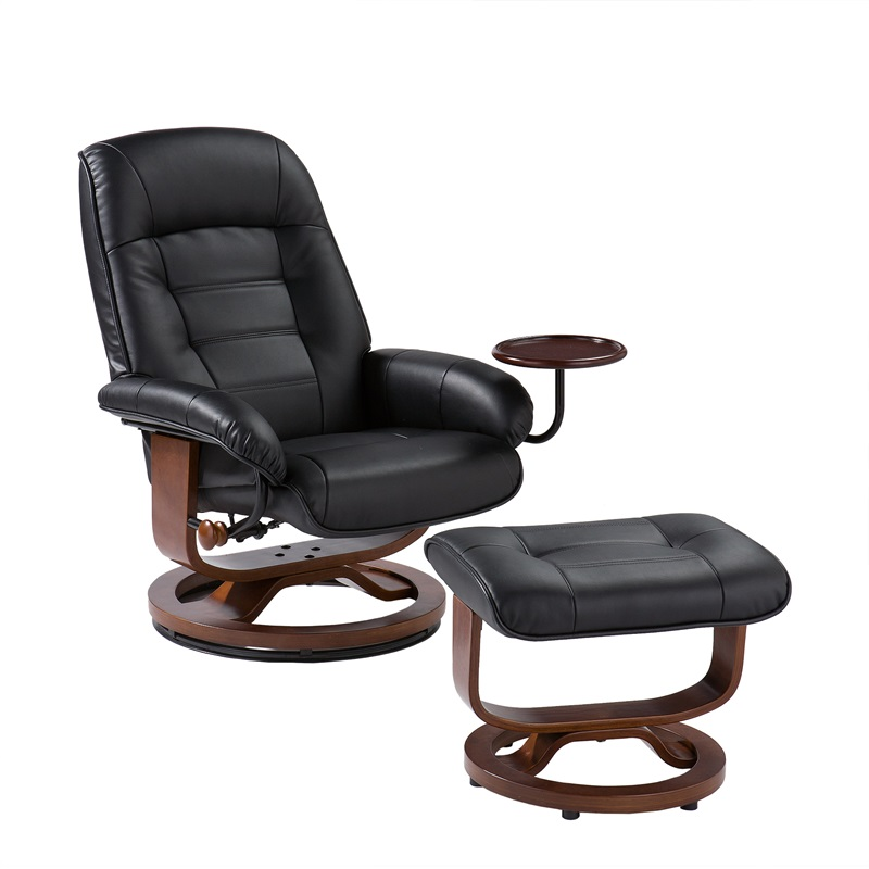 bonded leather birch u base swivel glider reclining chair with