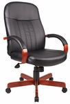 High Back LeatherPLUS Executive Chair with Padded Arms - Cherry [B8376-C-FS-BOSS]