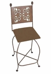 Leaves 24''H Wrought Iron Swivel Counter Stool with Upholstered Seat [GMC-SW124-LEAVES-FS-GCM]