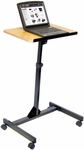 Adjustable Height Steel Frame Mobile Lectern - Black Frame with Oak Laminate Top - 19.75''W x 23.25''D x 36.25''- 45''H [LX9128-FS-LUX]