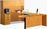 Left Curvilinear U-Group Executive Suite with D-Top and Hutch [ML345LEFT-FS-MAR]