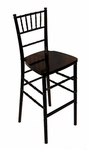 Legacy Series Stacking Wood Gloss Finish Chiavari Bar Stool - Black [123002-MES]