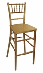 Legacy Series Stacking Wood Gloss Finish Chiavari Bar Stool - Natural [123003-MES]