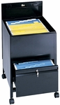 20'' W x 25.50'' D x 27.75'' H Extra Deep Locking Legal Size Mobile Tub File with Drawer - Black [5365BL-SAF]
