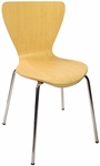Leo Stackable Side Chair - Natural Laminate Seat and Chrome Frame [JA602CH-NT-BFMS]