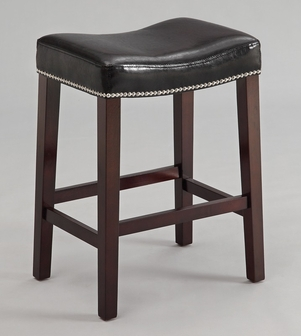 Lewis Wood 26 H Backless Barstool With Nailhead Trim And