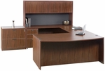 Liberty Series U-Shaped Bow Front Wooden Desk with 4 Door Hutch [L-LU-72108-BF-U-FS-CPL]