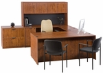 Liberty Series U-Shaped Straight Front Wooden Desk with 4 Door Hutch and 42''W Bridge - American Cherry [L-LU-72102-CD-H-AC-FS-CPL]