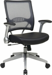Space Light Air Grid® Back and Eco Leather Seat Manager's Chair with 2-to-1 Synchro Tilt - Black [67-E36N61R5-FS-OS]