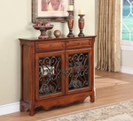 Light Cherry 2-Door, 2-Drawer Scroll Console [411-254-FS-PO]