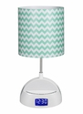 LighTunes Bluetooth Speaker Lamp with Alarm Clock,FM Radio,USB Charging Port,and Aqua Chevron Shade