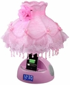LighTunes Pink Apple Docking Speaker Lamp with Alarm Clock,FM Radio,USB Charging Port,and Beaded Dress Shade