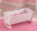 Lil' Doll Wooden Cradle with Reversible Bedding for up to 19''H Dolls - White [60101-FS-KK]