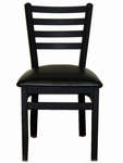 Lima Metal Ladder Back Chair - Black Vinyl Seat [2160CBLV-SB-BFMS]