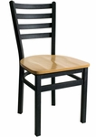 Lima Metal Ladder Back Chair - Black Wood Seat [2160CBLW-SB-BFMS]