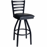 Lima Metal Ladder Back Swivel Barstool - Black Vinyl Seat [2160SBLV-SB-BFMS]