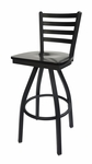 Lima Metal Ladder Back Swivel Barstool - Black Wood Seat [2160SBLW-SB-BFMS]
