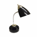 LimeLights Flossy Organizer Desk Lamp with Charging Outlet - Black