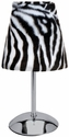 Limelights Mini Silver Table Lamp with Faux Fur Zebra Shade