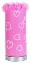 Limelights Pink Puff Table Lamp with Hearts and Faux Fur
