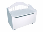 Limited Edition Childs Toy Box with Bench Seat and Flip-Top Lid - White [14101-FS-KK]