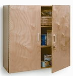 Lockable Birch Laminate Wall Cabinet with Lockable Doors [WB3535-FS-WBR]