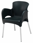 Lola Outdoor Stacking Arm Chair in Black [SA21475BL-BFMS]