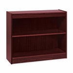 Lorell 2 Shelf Panel Bookcase - 36''W x 12''D x 30''H - Mahogany [LLR60070-FS-SP]