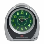 Lorell Atomic Desk Clock - Set Alarm - 5 -3/4''Dia - Silver/Black [LLR60999-FS-SP]