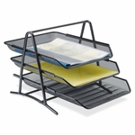 Lorell Front -Load Letter Tray - 3 Tier - 10 -3/4''W x 14 -1/4''L x 11''H - Black Mesh [LLR90206-FS-SP]