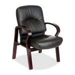 Lorell Guest Chair - 26''W x 29''L x 37 -1/2''H - Mahogany/Black Leather [LLR60340-FS-SP]