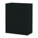 Lorell Lateral File - Receding - 4 -Drawer - 42''W x 18 -5/8''L x 52 -1/2''H - Black [LLR43515-FS-SP]