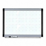 Lorell Magnetic Dry - Erase Board - with Grid Lines - 3'H x 4'W - Silver/Ebony [LLR69652-FS-SP]