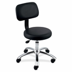 Lorell Pneumatic Height Stool - withBack - 24''W x 24''L x 36''H - Black/Chrome [LLR69511-FS-SP]