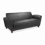 Lorell Reception Sofa - 75''W x 34 -1/2''L x 31 -1/4''H - Black Leather [LLR68950-FS-SP]