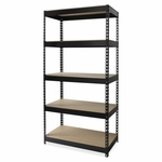 Lorell Riveted Steel Shelving - 36''W x 16''L x 72''H - Black [LLR61620-FS-SP]