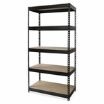 Lorell Riveted Steel Shelving - 36''W x 18''L x 72''H - Black [LLR61621-FS-SP]