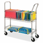 Lorell Wire Mail Cart - Letter/Legal - 34 -1/4''W x 12 -1/2''L x 40''H - Chrome [LLR84857-FS-SP]