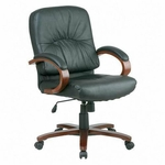 Lorell Woodbridge Series Leather Managerial Mid Back Chair [LLR60336-FS-SP]