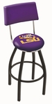 Louisiana State University 25'' Black Wrinkle Finish Swivel Counter Height Stool with Cushioned Back [L8B425LASTUN-FS-HOB]