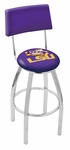 Louisiana State University 25'' Chrome Finish Swivel Counter Height Stool with Cushioned Back [L8C425LASTUN-FS-HOB]
