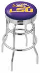 Louisiana State University 25'' Chrome Finish Double Ring Swivel Backless Counter Height Stool with Ribbed Accent Ring [L7C3C25LASTUN-FS-HOB]